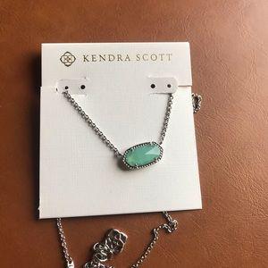 Kendra Scott Elisa silver necklace mint pendant